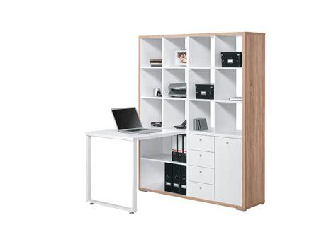 bureau de bureau contemporain avec rangement chêne sonoma blanc