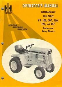 Cub Cadet 106 Tractor Operator U0026 39 S Manual Pdf View  Download