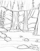 Waterfall Drawing Outline Draw Step Scenery Mountain Drawings Landscape Line Pencil Arcmel Coloring Pages Mountains Sketch Nature Waterfalls Lessons Landscapes sketch template