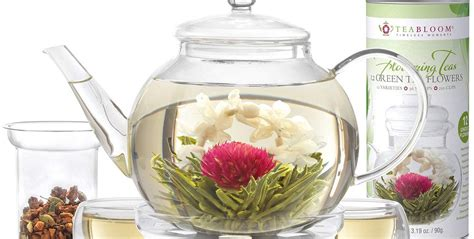 teablooms flowering tea set  bloom  hot water