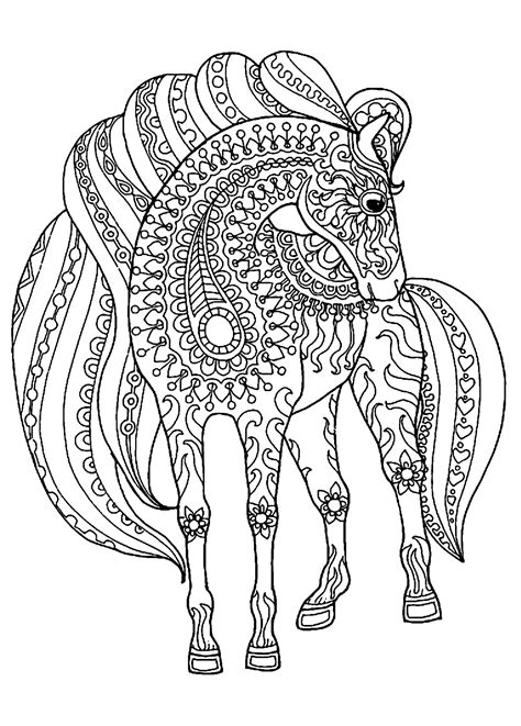 horse simple zentangle patterns horses adult coloring pages