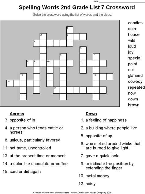 grade crossword puzzles   worksheets image