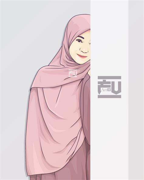 vector hijab atahmadfu gadis animasi kartun seni islamis