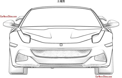 ferrari sketch view car front view drawing sketch coloring page
