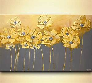 Painting - yellow gray flowers gray background painting