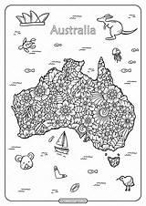 Australia Coloring Printable Pdf Happy Whatsapp Tweet Email sketch template