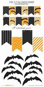 Black & Orange Halloween Banner With 3-D Bats - Free Kim