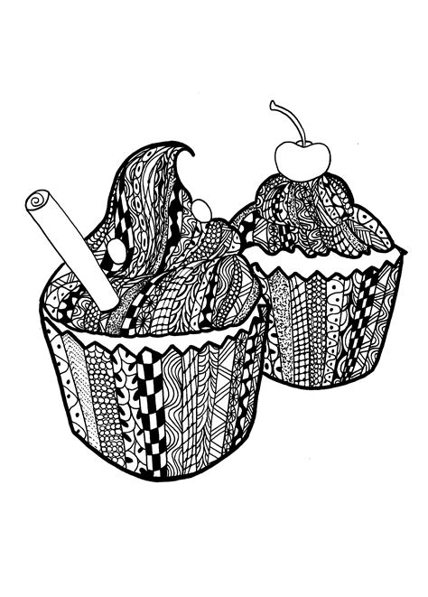 Zentangle cupcakes celine - Zentangle Adult Coloring Pages