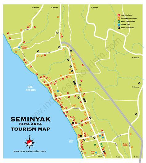 kuta seminyak bali map bali island indonesia tourism