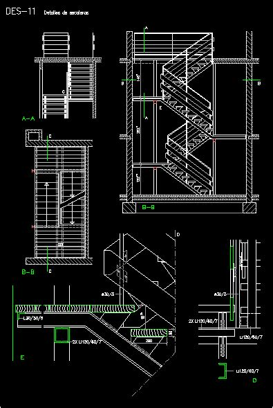 double return stair dwg detail  autocad designs cad