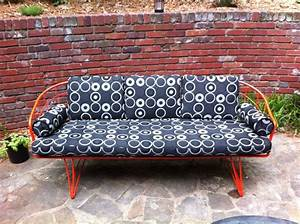 Vintage homecrest wire patio sofa powder coated orange for Homecrest outdoor furniture covers