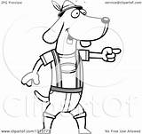 Dog Oktoberfest German Cartoon Dachshund Lederhosen Clipart Skinny Outline Wearing Illustration Vector Pointing Royalty Thoman Cory Lineart Coloring Template sketch template