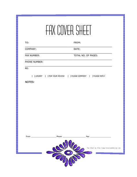Fax Cover Page Template Sheet For Mac