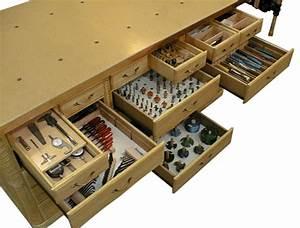 Woodworking bench tool well ~ Garan wood desk