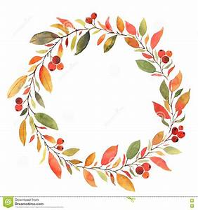 Watercolor Fall Leaves Wreath Clipart Collection