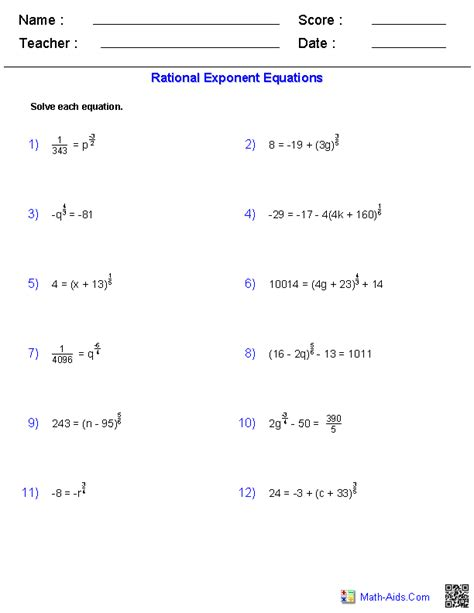rational exponent equations worksheets education