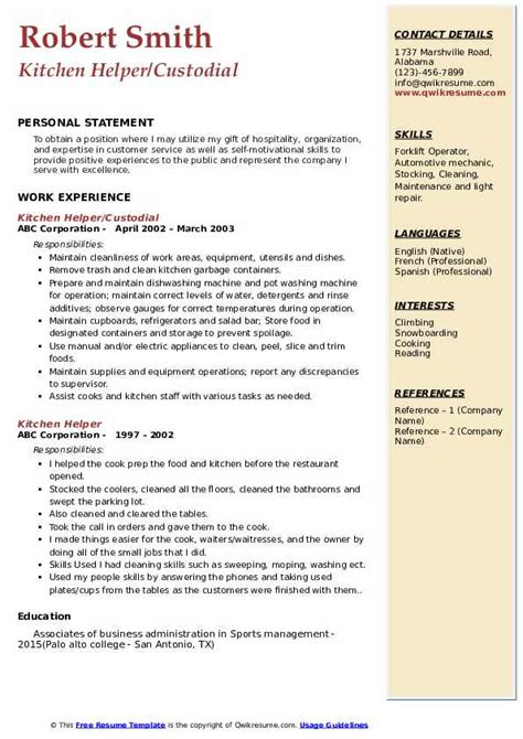 kitchen helper resume   resume examples
