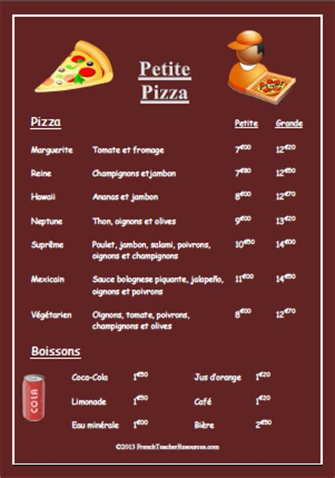 french pizza menu french teacher resourcesfrench teacher