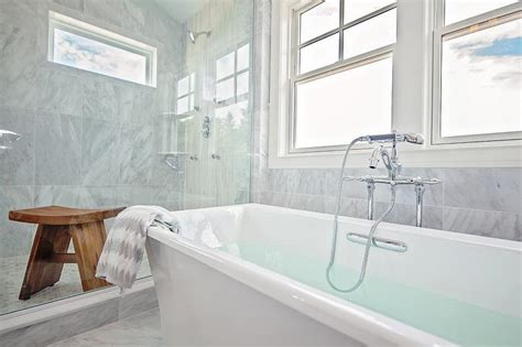 Spa Looking Bathrooms by Color Standing Tub In Front Of Bay Windows White
