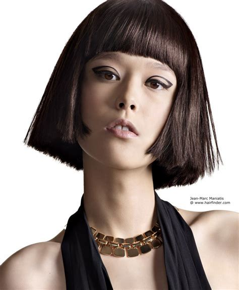 Blunt Asian bob hairstyle with a rounded fringe that