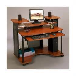 studio rta wood computer desk in black and cherry 18859