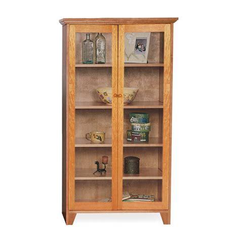Custom Glass Door Shaker Bookcase  Natural Cherry, Walnut