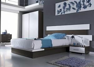 Tete De Lit Moderne : acheter votre lit 140 tatami et t te de lit d cal e avec chevet chez simeuble ~ Teatrodelosmanantiales.com Idées de Décoration