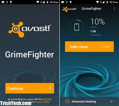 avast grimefighter cleans junk cache on android
