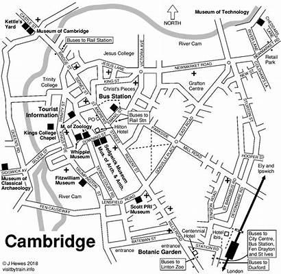Cambridge Map Train Bus Station Tourist Maps