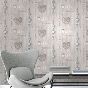 Fine Decor Love Your Home Blue/White Wallpaper