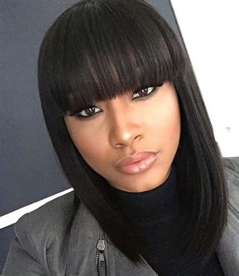 Black Hairstyles Bob With Bangs by 15 Best Of Bob Hairstyles For Black With Sleek Bangs