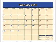 February 2018 Calendar Printable With Holidays printable