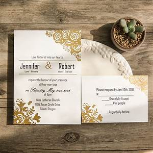 affordable traditional gold foil floral wedding invitation With traditional flat wedding invitations