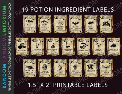Hp1 Printable Labels 19 Magic Potion Labels Harry Potter