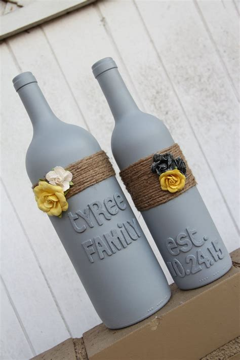 custom wedding gift wedding wine bottles yellow