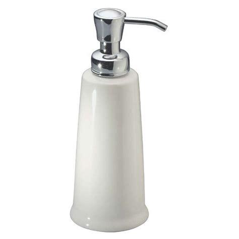 interdesign york ceramic liquid soap dispenser pump  kitchen  bathroom countertops white