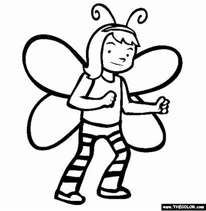 Costume Coloring Halloween Butterfly Pages Drawings Thecolor