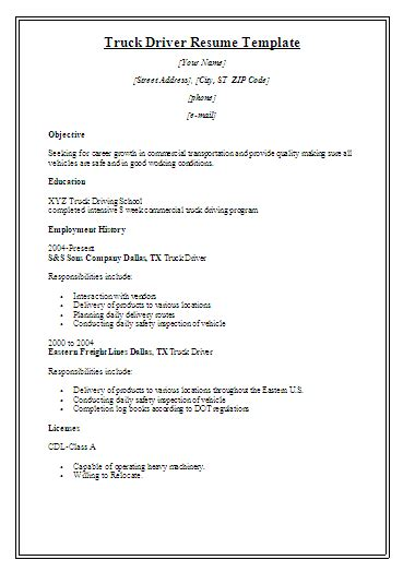printable truck driver resume template free word s templates