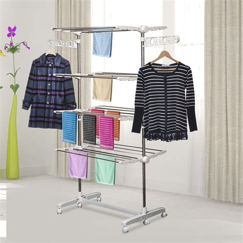 homcom  layers folding clothes hanger stand dryer storage