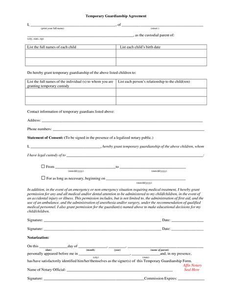 guardianship agreement form templates