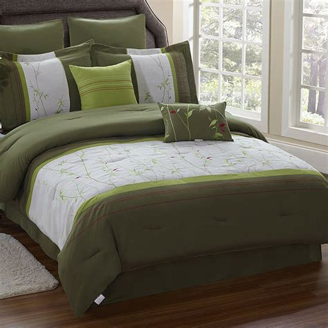 Comforter Sets Size For - grass leaves embroidered 8pc comforter set king size