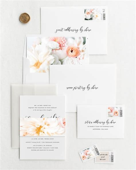 everly floral wedding invitations floral wedding