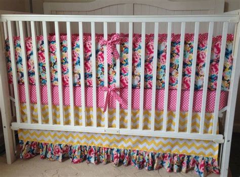 Ruffled Crib Bedding Set Yellow Pink Blue By
