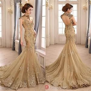 2015 luxury gold mermaid wedding dress high neck sheer With gold beaded wedding dress