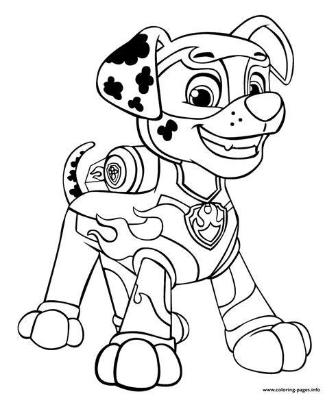 Print PAW Patrol Mighty Pups Marshal for Boys coloring