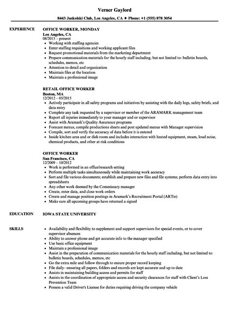 Office Worker Resume Samples | Velvet Jobs