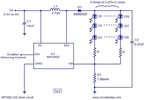 wiring diagram led driver led driver based on mp3302 led driver ic working circuit