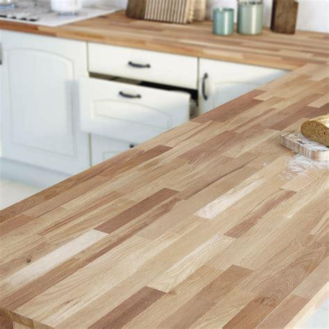 cuisine avec plan de travail en bois plan de travail bois chêne huilé satiné l 300 x p 65 cm l 65 cm ep 38 mm leroy merlin