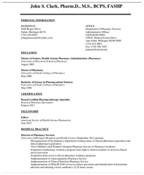 pharmacist curriculum vitae templates