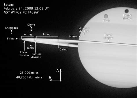 Annotated image of Saturn's rings and moons | ESA/Hubble